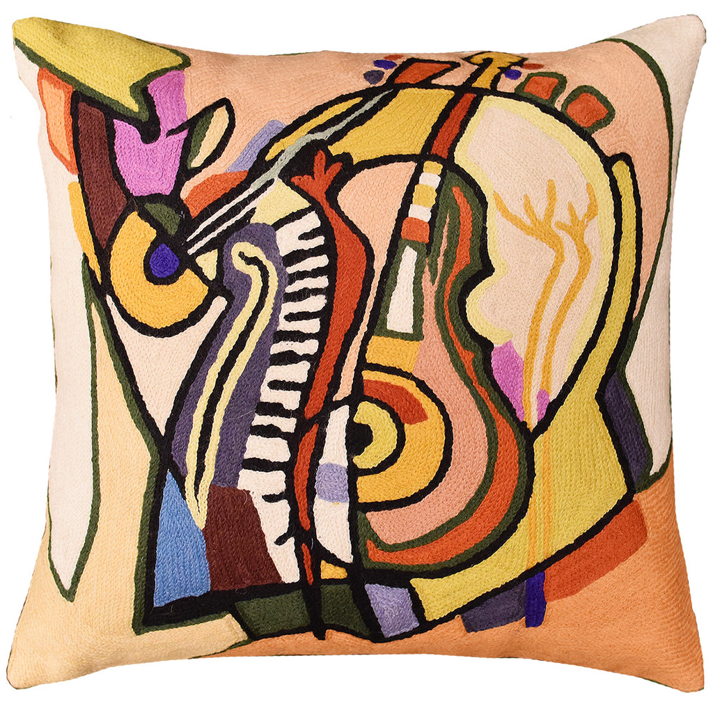"Music is my Life by Alfred Gockel Accent Pillow Cover Handmade Wool 18"" x 18"" - KashmirDesigns"