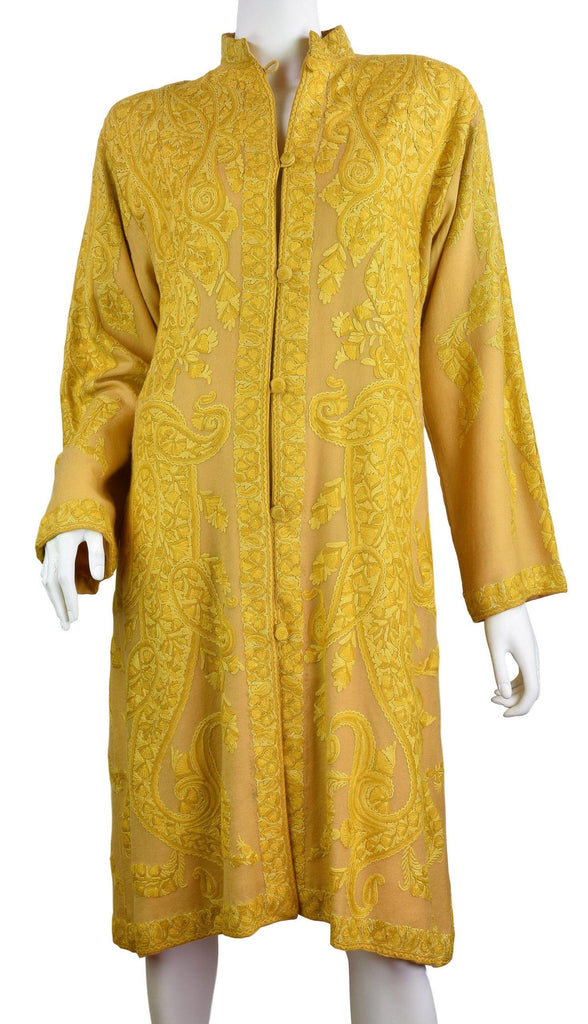 Larisa Paisley Cashmere Jacket Dinner Yellow Gold Evening Dress Coat Hand Embroidered Kashmir