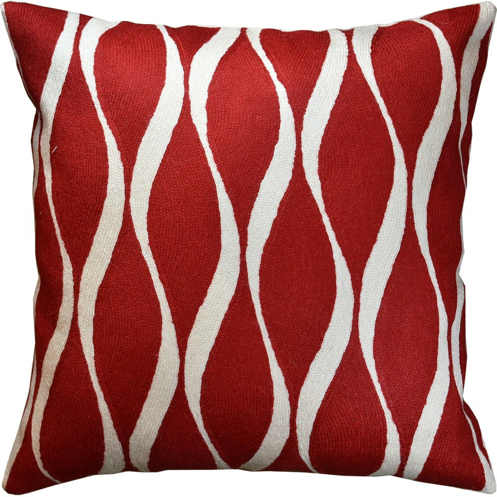 "Contemporary Waves Bright Red Accent Pillow Cover Handembroidered Wool 18x18"" - KashmirDesigns"