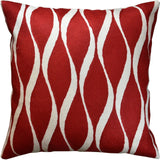 Contemporary Waves Bright Red Accent Pillow Cover Handembroidered Wool 18x18
