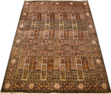 8x11ft Gom Silk Rug Oriental Carpet Tree of life Browns Geometric HandKnotted