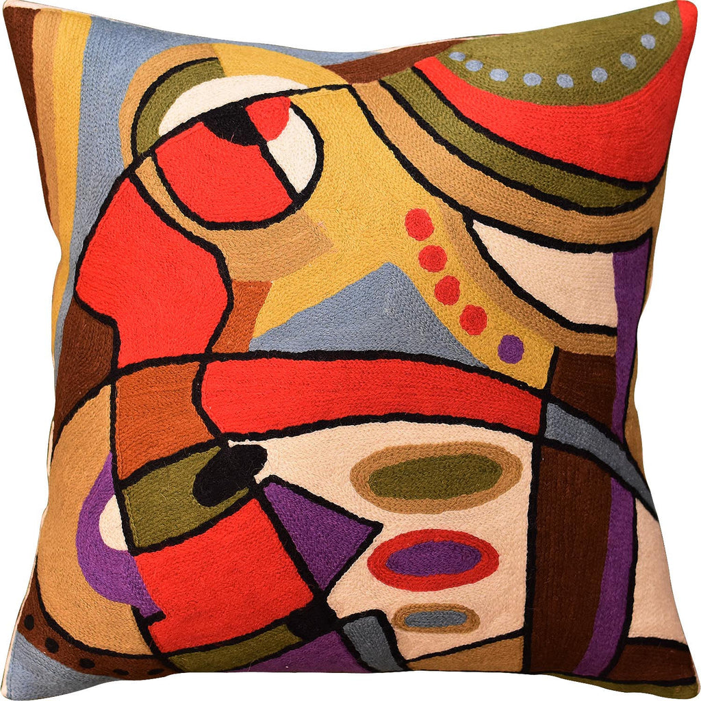 "Decorative Musical Accent Decorative Pillow Cover Handembroidered Wool 18""x18"" - KashmirDesigns"