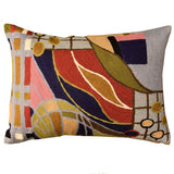 Lumbar Hundertwasser Pillow Cover Biomorph II Rectangle Wool Hand Embroidered 14