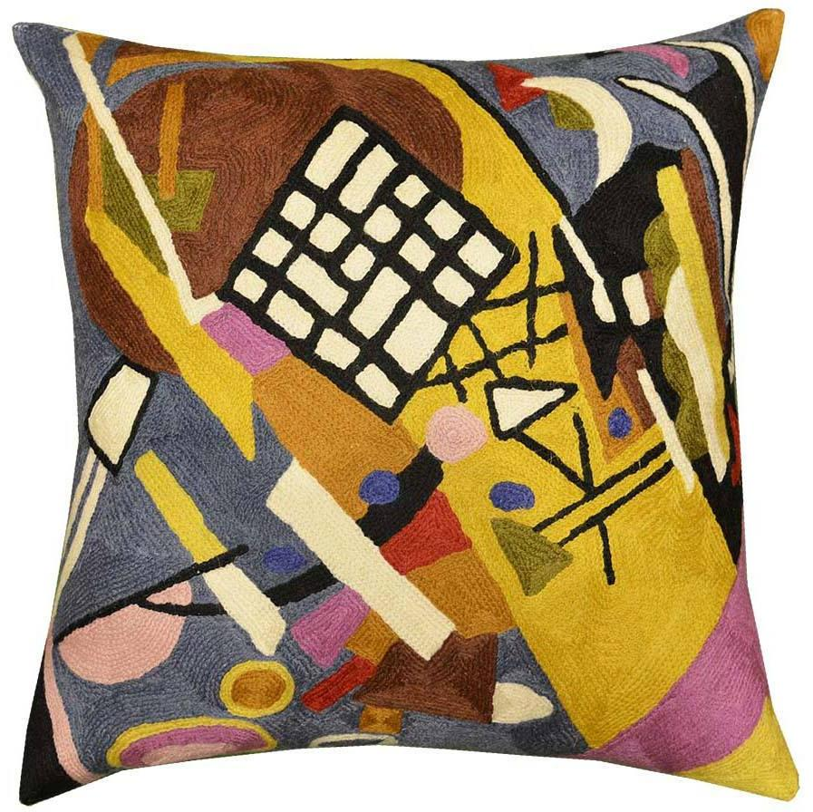 "Kandinsky Throw Pillow Black Frame Hand Embroidered 18"" x 18"" - KashmirDesigns"