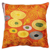 Klimt Coral Swirls Accent Pillow Cover Hand Embroidered Wool 18x18