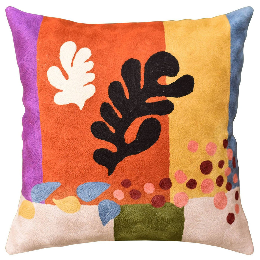 "Matisse Coral Pillow Cover Cut-Outs III Flower Wool Hand Embroidered 18"" x 18"" - KashmirDesigns"