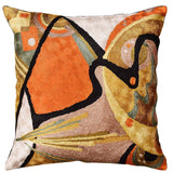 Kandinsky Accent Pillow Cover In the Flow Hand Embroidered Art Silk Orange 18x18