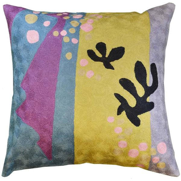 "Matisse Purple Yellow Pillow Cover Cut-Outs II Flower Wool Hand Embroidered 18"" x 18"" - KashmirDesigns"