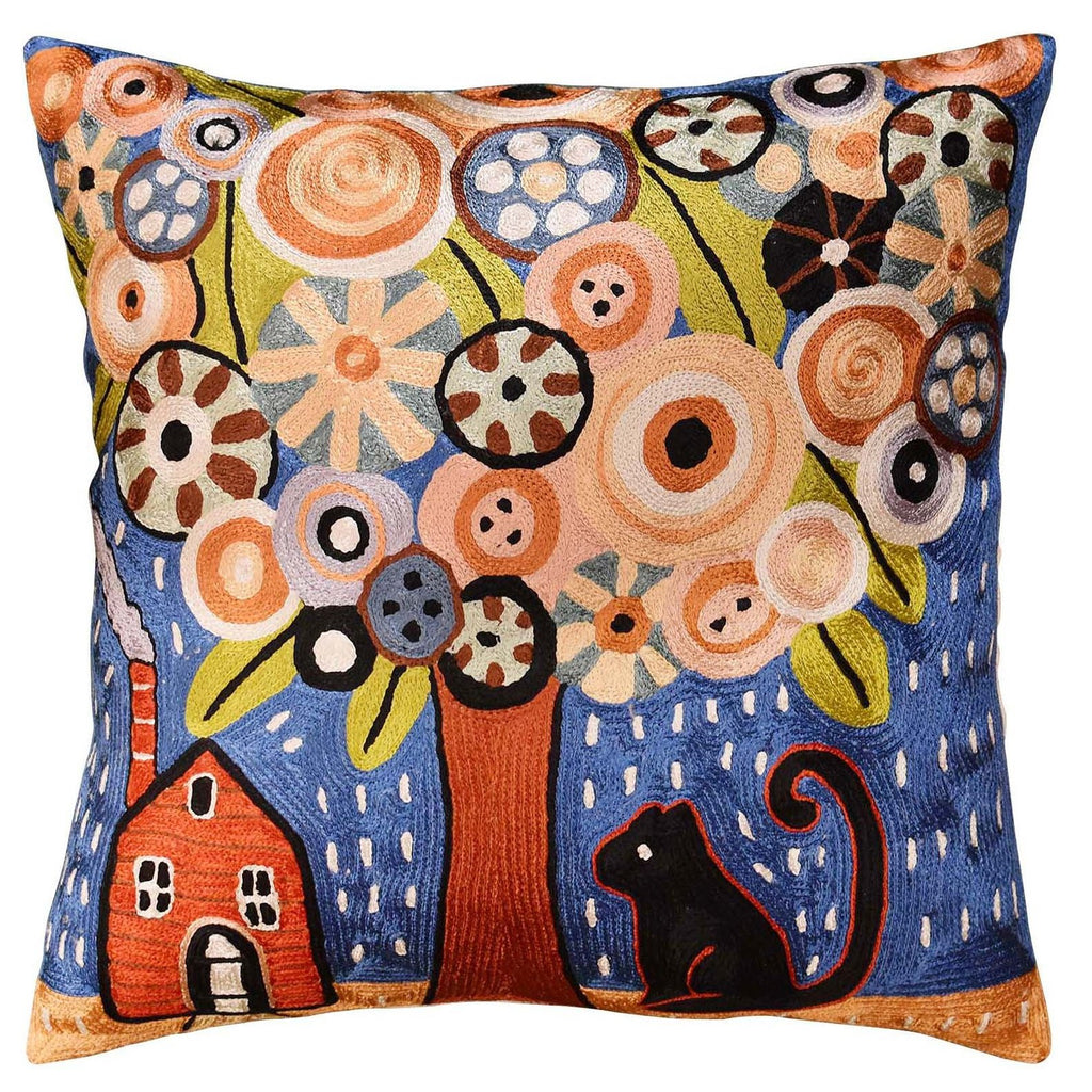 "Home Sweet Home Karla Gerard Accent Pillow Cover Handembroidered Art Silk 18""x18"" - KashmirDesigns"