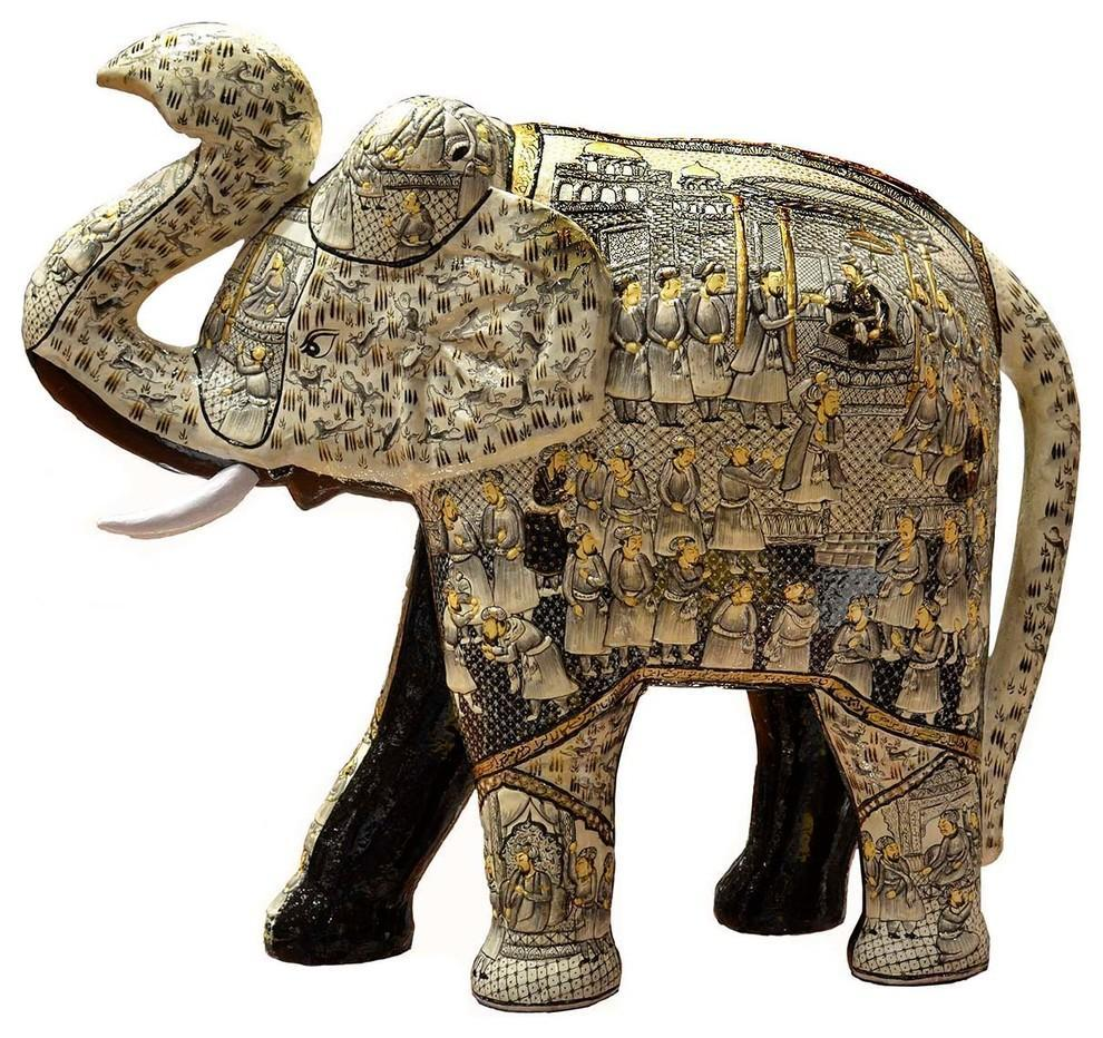 "Ivory Decorative Papier Mache Embossed Elephant Sculpture Hand Crafted 22""H - KashmirDesigns"