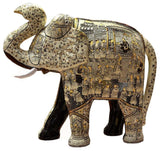 Ivory Decorative Papier Mache Embossed Elephant Sculpture Hand Crafted 22