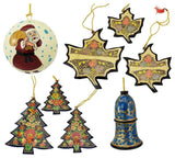 Holiday Christmas Ornaments, Hand Painted Ball, Bell, Tree and Maple Sets