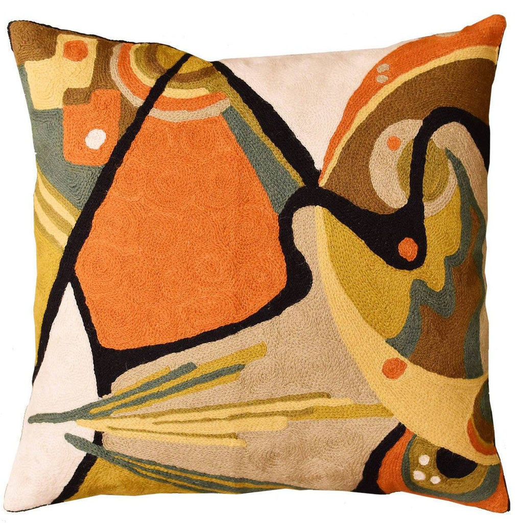 "Kandinsky Throw Pillow Cover In The Flow Decorative Wool Hand Embroidered 18x18"" - KashmirDesigns"