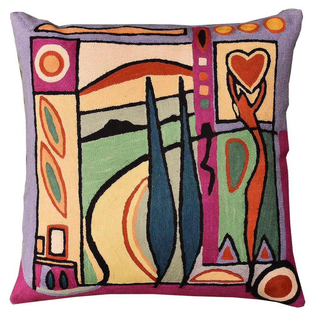 "Fun in the Sun VII by Alfred Gockel Accent Pillow Cover Handmade Wool 18"" x 18"" - KashmirDesigns"