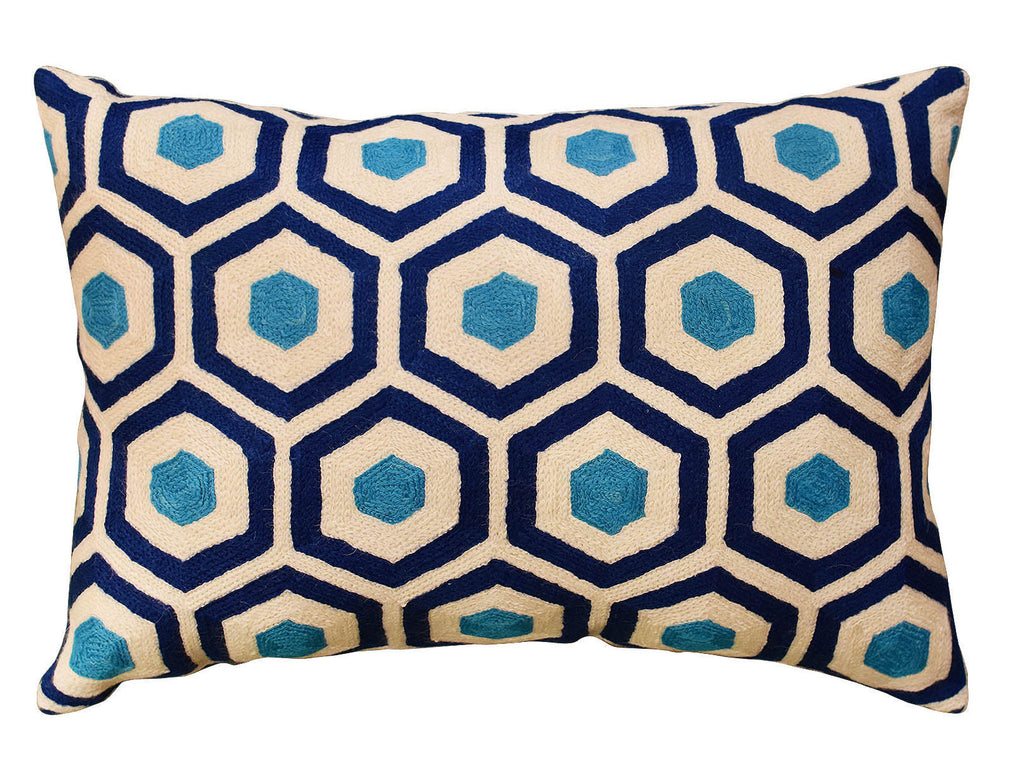 "Lumbar Seamless Navy Turquoise Accent Pillow Cover Handembroidered Wool 14""x20"" - KashmirDesigns"