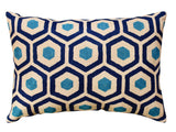 Lumbar Seamless Navy Turquoise Accent Pillow Cover Handembroidered Wool 14