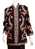 Athena Black Jacket Dinner Evening Dress Coat Floral Hand Embroidered Kashmir