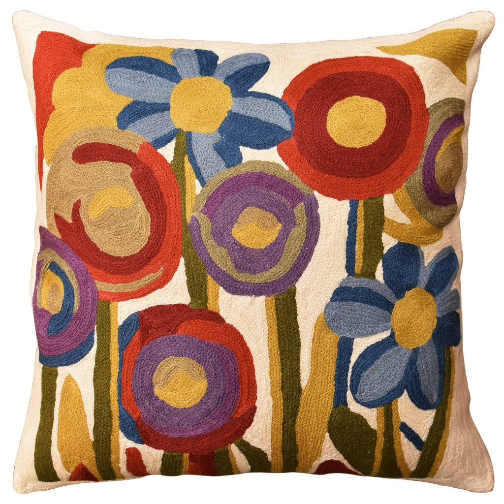 "Floral Poppy Bloom Red Blue Decorative Pillow Cover Handembroidered Wool 18""x18"" - KashmirDesigns"