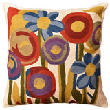 Floral Poppy Bloom Red Blue Decorative Pillow Cover Handembroidered Wool 18