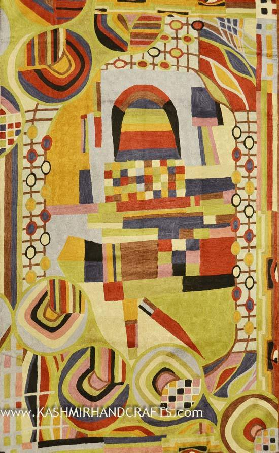 Hundertwasser Modern Handembroidered Abstract Rug 3ft x 5ft