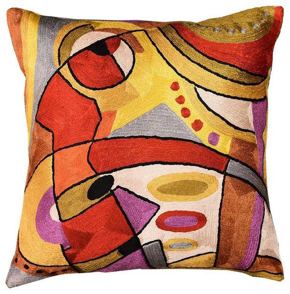 "Musical Decorative Pillow Cover Abstract Design III Handembroidered Silk 18""x18"" - KashmirDesigns"