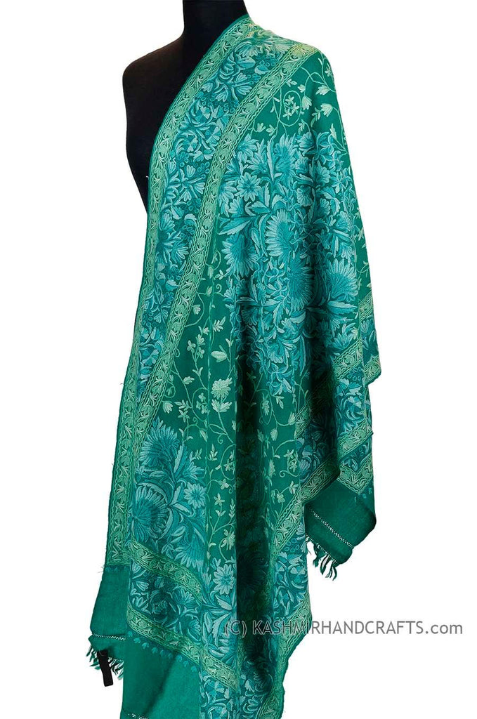 "Teal Green Floral Kashmir Shawl Hand Embroidered Wrap II Suzani Needlework Wrap 27x76"" - Kashmir Designs"