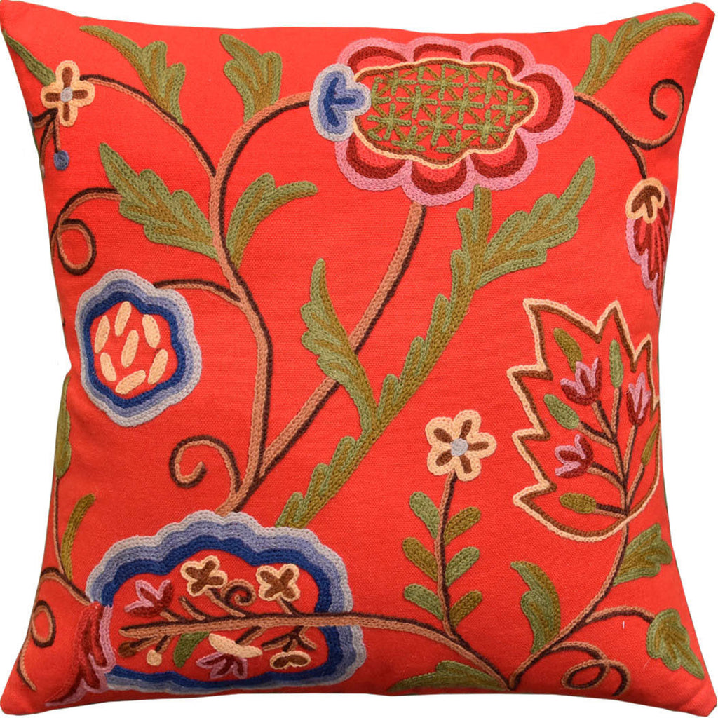 "Red Floral Bloom Modern Decorative Pillow Cover Handembroidered Wool 18x18"" - KashmirDesigns"