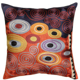 Klimt Fire Orange Red Navy Swirls Decorative Pillow Cover Hand Embroidered 18
