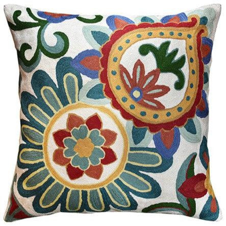 "Suzani Daisy Decorative Pillow Cover Elements Ivory Hand embroidered Wool 18x18"" - KashmirDesigns"