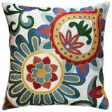Suzani Daisy Decorative Pillow Cover Elements Ivory Hand embroidered Wool 18x18
