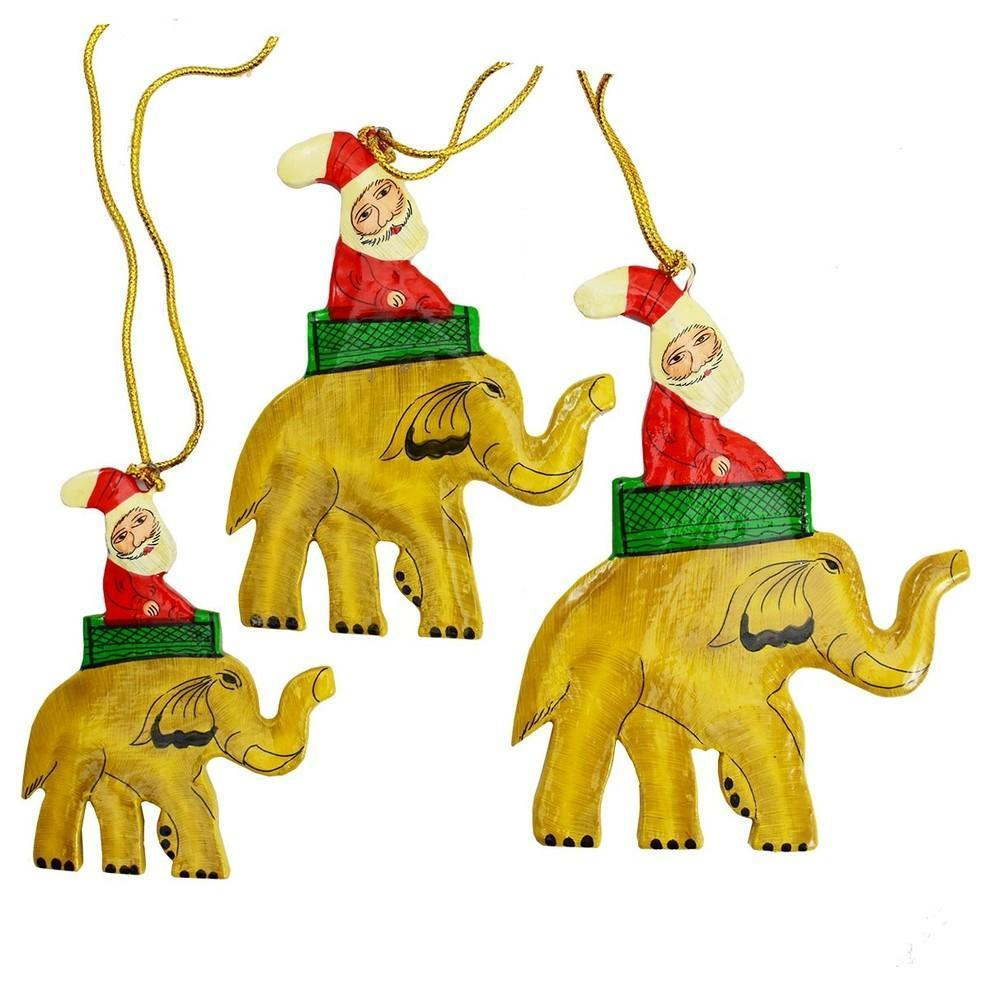 Santa Elephant Christmas Holiday Ornaments Handpainted, Brown, 3 Piece Set - KashmirDesigns