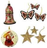 Christmas Ornaments Holiday Decorations Ball, Bell, Butterfly and Star Set