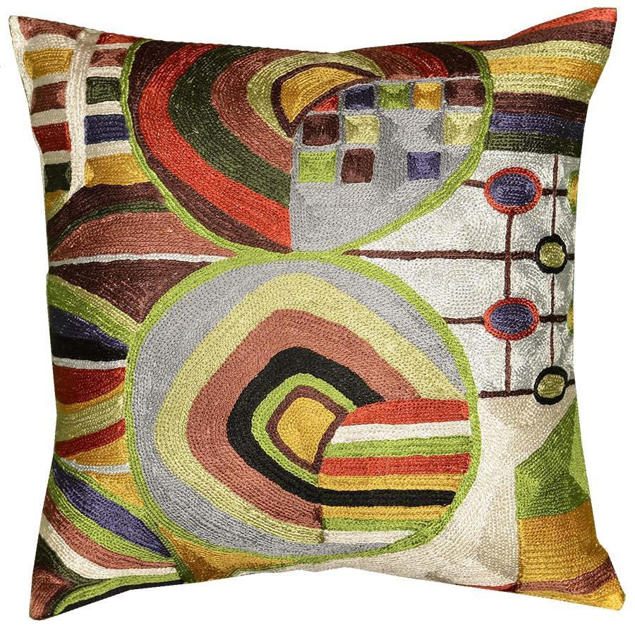 Hundertwasser Biomorph I Silk Decorative Cushion Cover - KashmirDesigns