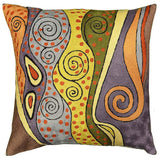 Klimt Purple Night Sky Pillow Cover Hand Embroidered Wool 18