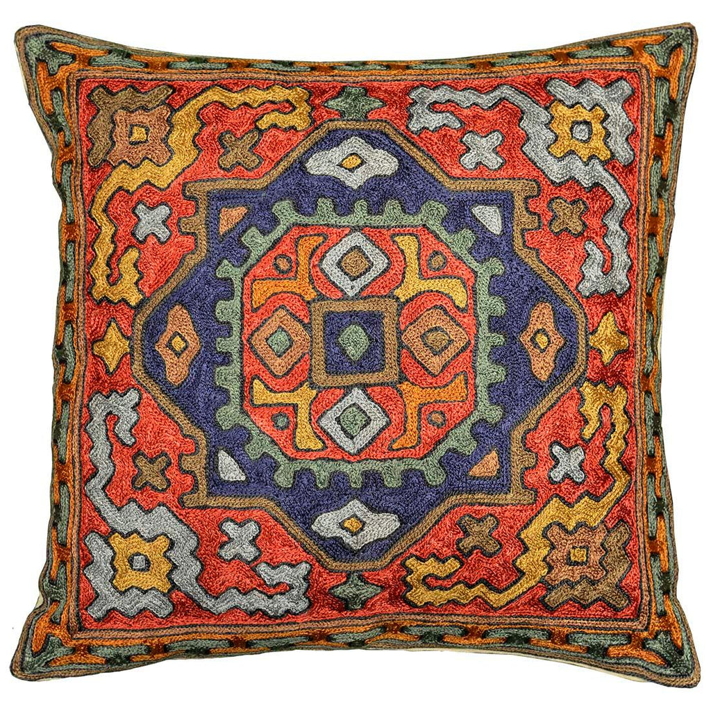 burdock tribal cushion cover silk hand embroidered 16 x 16