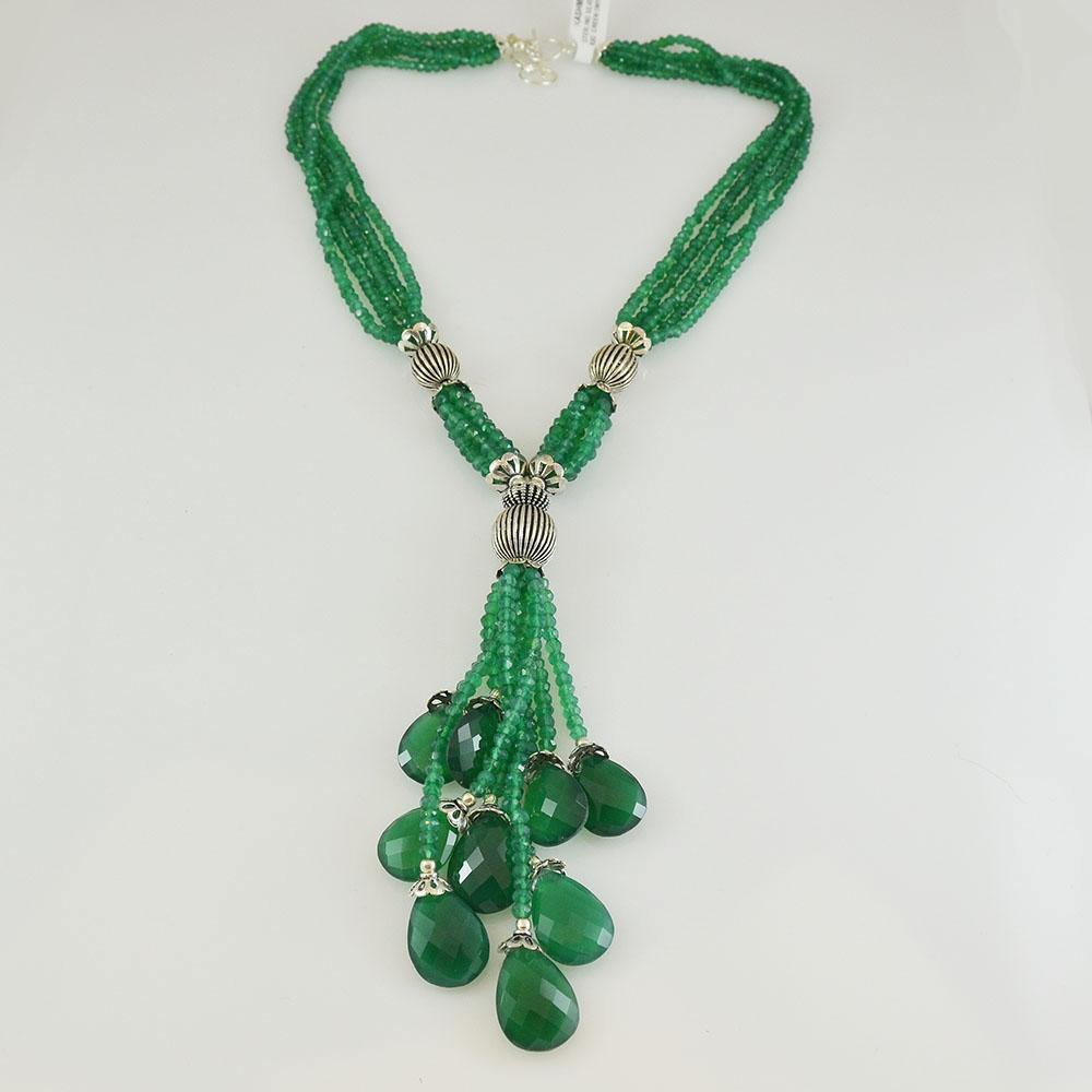 Green Onyx Cascade Sterling Silver Necklace Briolette