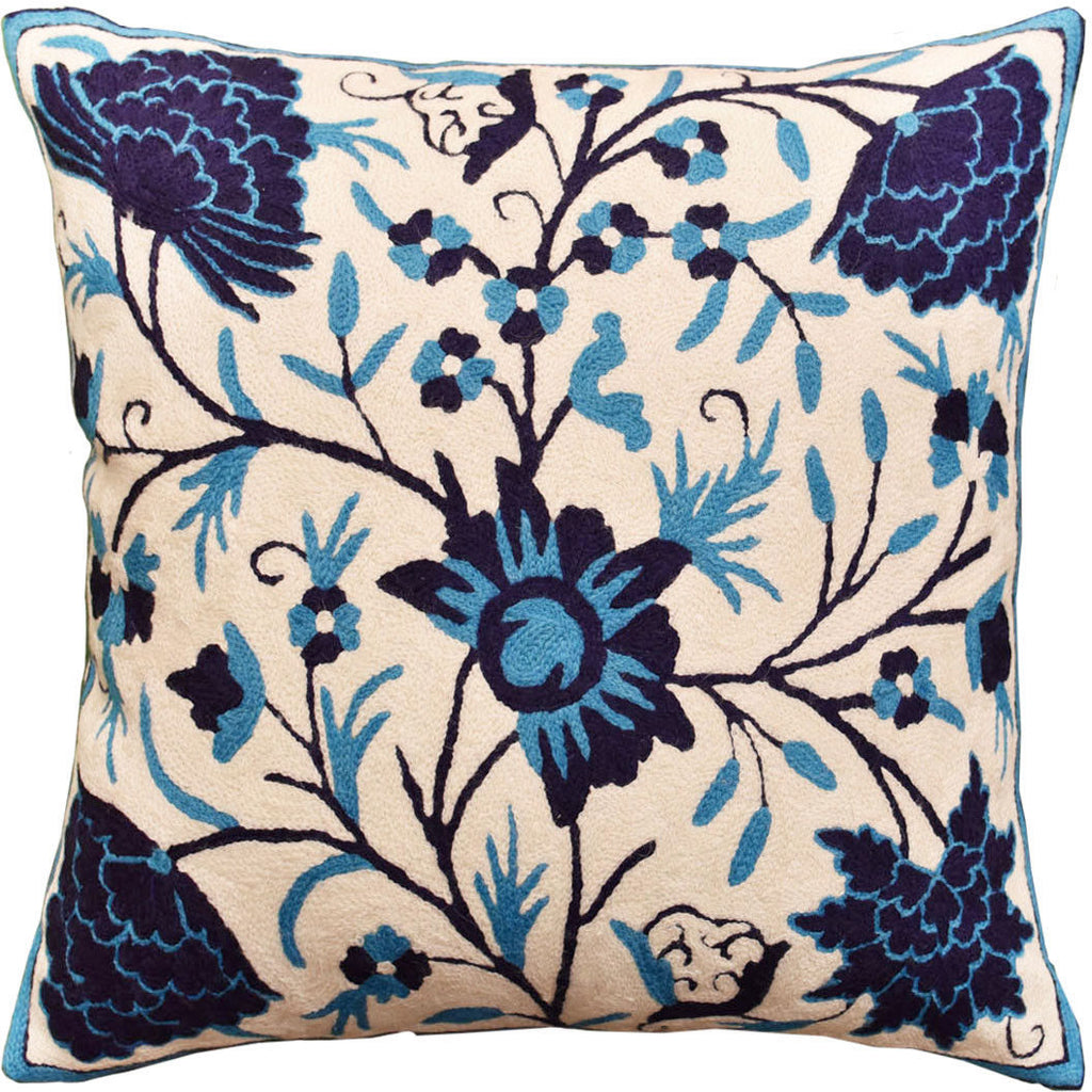 "Floral Bloom Ivory Navy Turquoise Throw Pillow Cover Handembroidered Wool 18x18"" - KashmirDesigns"