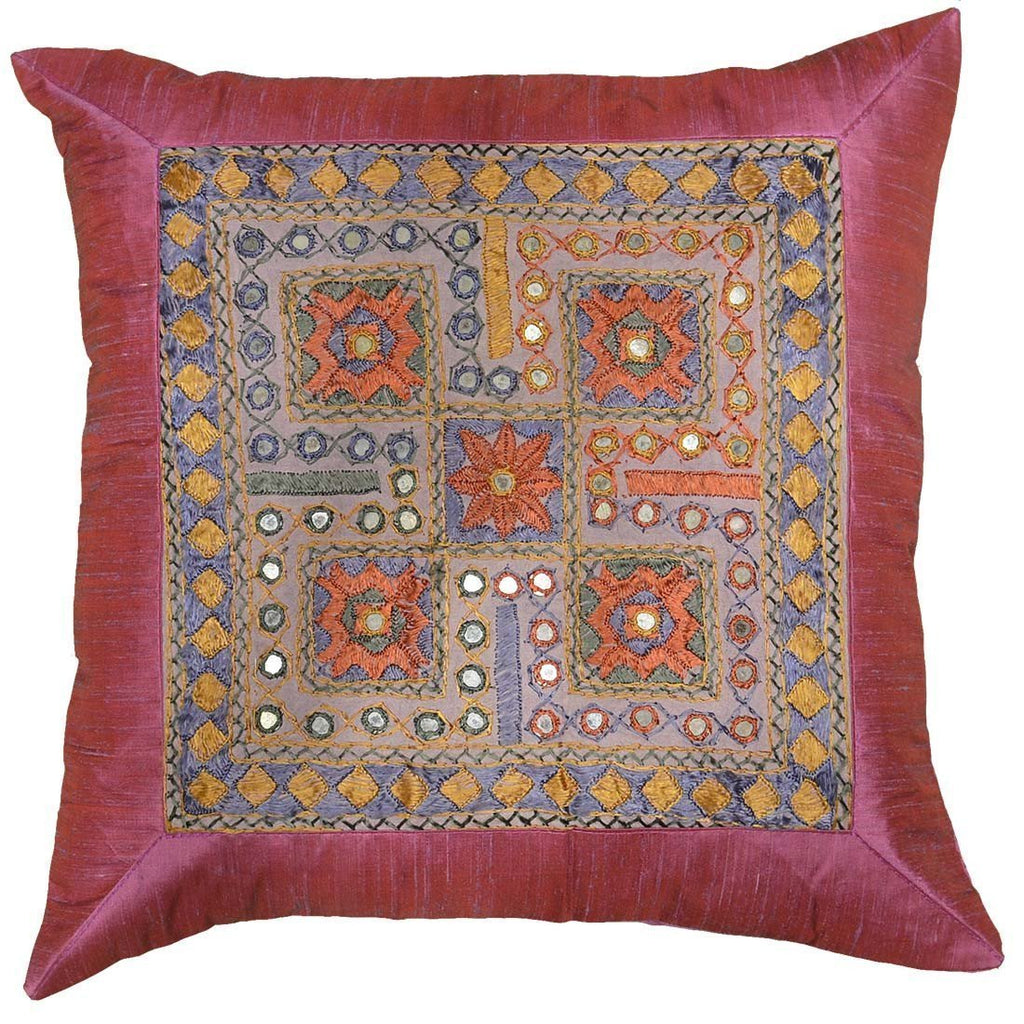 "Silk Hot Pink Accent Sofa Zardozi Pillow Cover 16"" x 16"" - KashmirDesigns"