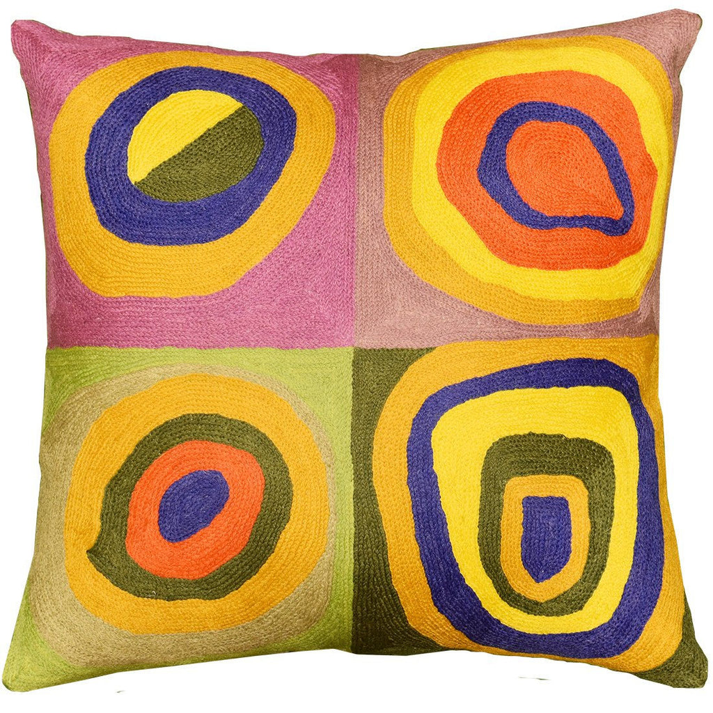 "Kandinsky Throw Pillow Farbstudie Quadrate I Hand Embroidered 18"" x 18"" - KashmirDesigns"