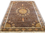 8x11ft Ardabil Silk Rug Oriental Carpet Medallion Rust Browns Navy HandKnotted