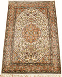 6'X4' Kashan Cream Rug Pure Silk Pile Oriental Area Rugs Carpet Hand Knotted