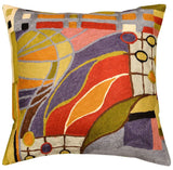 Hundertwasser Biomorph II Cushion Cover Hand Embroidered Wool 18x18