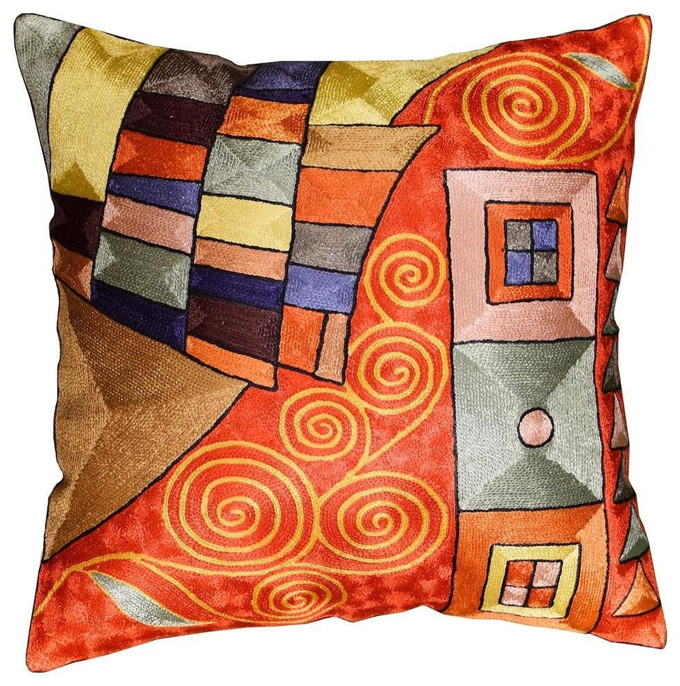"Klimt Decorative Pillow Cover Bright Red Swirls Hand Embroidered 18""x18"" - KashmirDesigns"