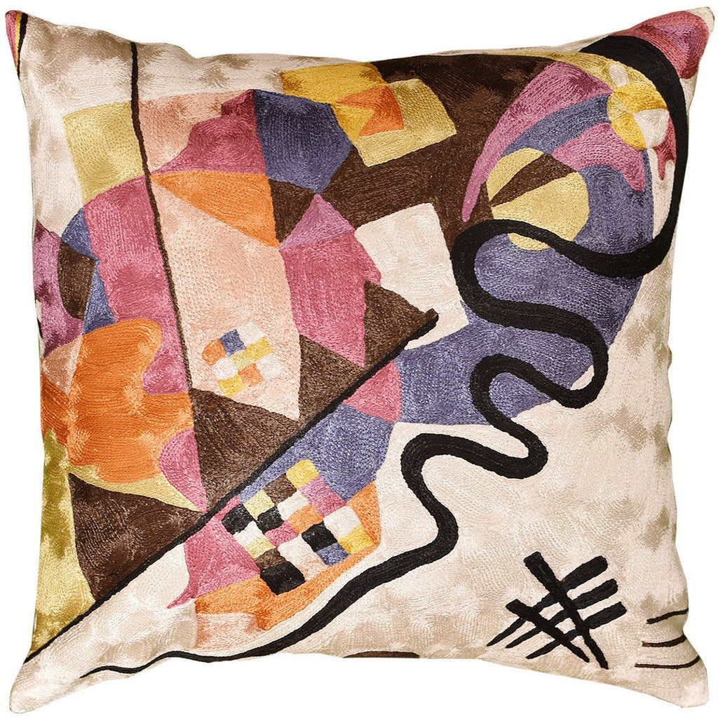 "Kandinsky Ivory Decorative Pillow Cover Hand embroidered 18"" x 18"" - KashmirDesigns"