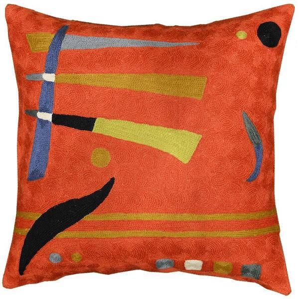 "Kandinsky Pillow Cover Orange Elements Needlepoint Hand Embroidered 18"" x 18"" - KashmirDesigns"