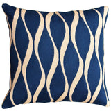 Contemporary Waves Midnight Blue Decorative Pillow Cover Handmade Wool 18