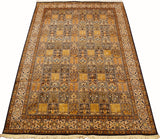 6x9ft Qum Silk Rug Tree of Life Oriental Carpet Geometric Gold Yellow Hand Knotted