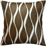 Contemporary Waves Brown Decorative Pillow Cover Handembroidered Wool 18x18