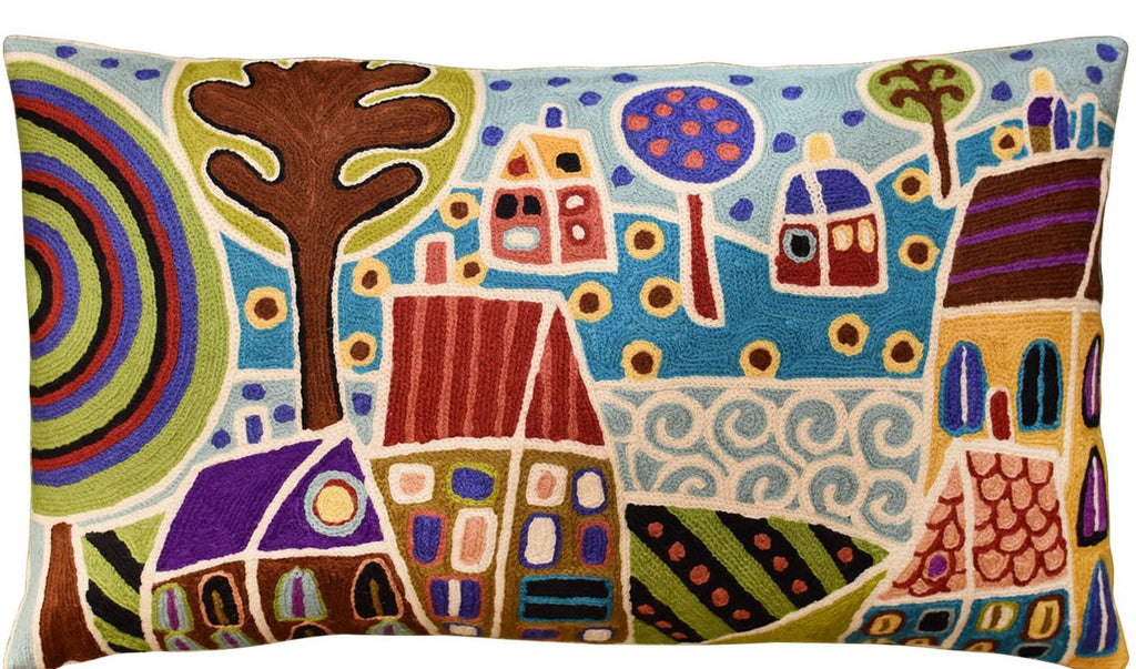 "Houses & Trees By Water Karla Gerard Pillow Cover Handembroidered Wool 14""x24"" - KashmirDesigns"
