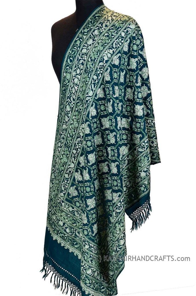"Teal Green Floral Kashmir Shawl Hand Embroidered Suzani Needlework Wrap 27x76"" - Kashmir Designs"